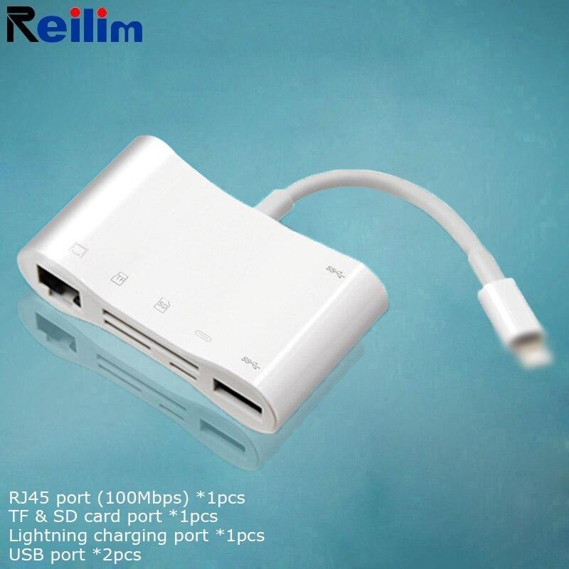 USB3.0 قفص الاتهام OTG USB إلى البرق محور محول ل SD TF قارئ بطاقة آيفون 7 8 11 X ماكس RJ45 إيثرنت ios14 موصل