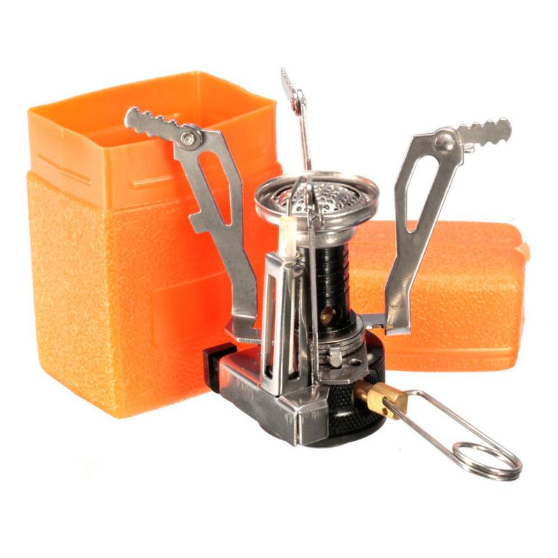 Mini estufa de Camping de bolsillo portátil de alta calidad, quemador de Gas, horno de cocina de supervivencia al aire libre, estufa de aleación de 3000W