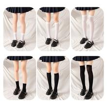 Calze estive Kawaii Girl calze sottili in velluto calze lunghe da donna calze bianche e nere JK Uniform calze giapponesi sopra il ginocchio