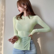 Thin Summer Top Split T Shirt Women 2020 Elasticity Irregular T-Shirt Korean Style Woman Clothes Slim Long Sleeve Tshirt Female
