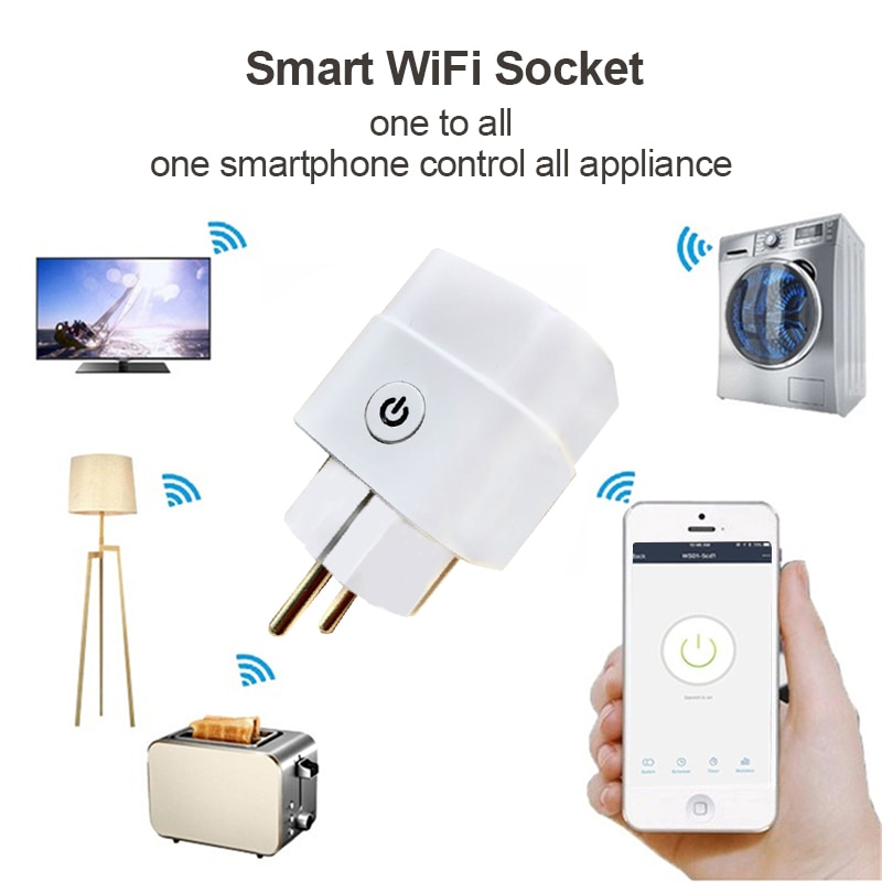 Tuya 16A WiFi Smart Plug Outlet Remote Control Home Appliances With Alexa Google Home No Hub Required Smart Home