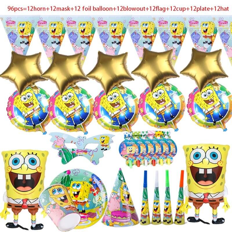 96+pcs Sponge-Bob Cake stand Birthday Party Decor Napkins Kid's Gift Balloon Disposable Tableware Celebration Supplies
