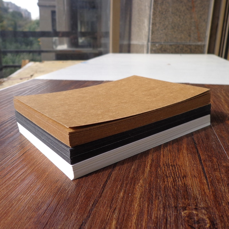 10 Uds. De doble cara tarjetas de papel Kraft en blanco Tarjeta de mensaje de palabra 14,8x9,8 cm tarjeta de regalo DIY tarjetas de nota de papel blanco negro