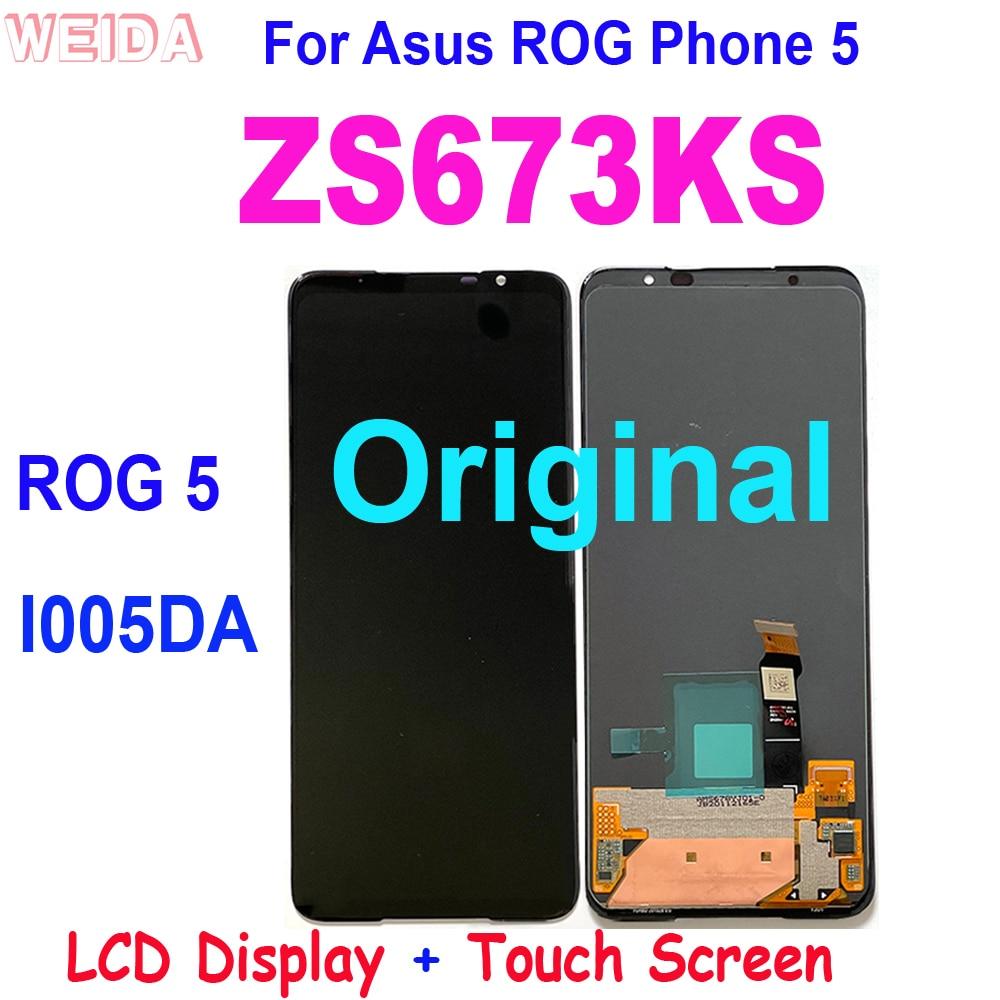 شاشة LCD أصلية 6.78 بوصة لهاتف Asus ROG 5 yong5 ROG 5 ZS673KS I005DA تعمل باللمس مع مجموعة رقمية لهاتف Asus ZS673KS