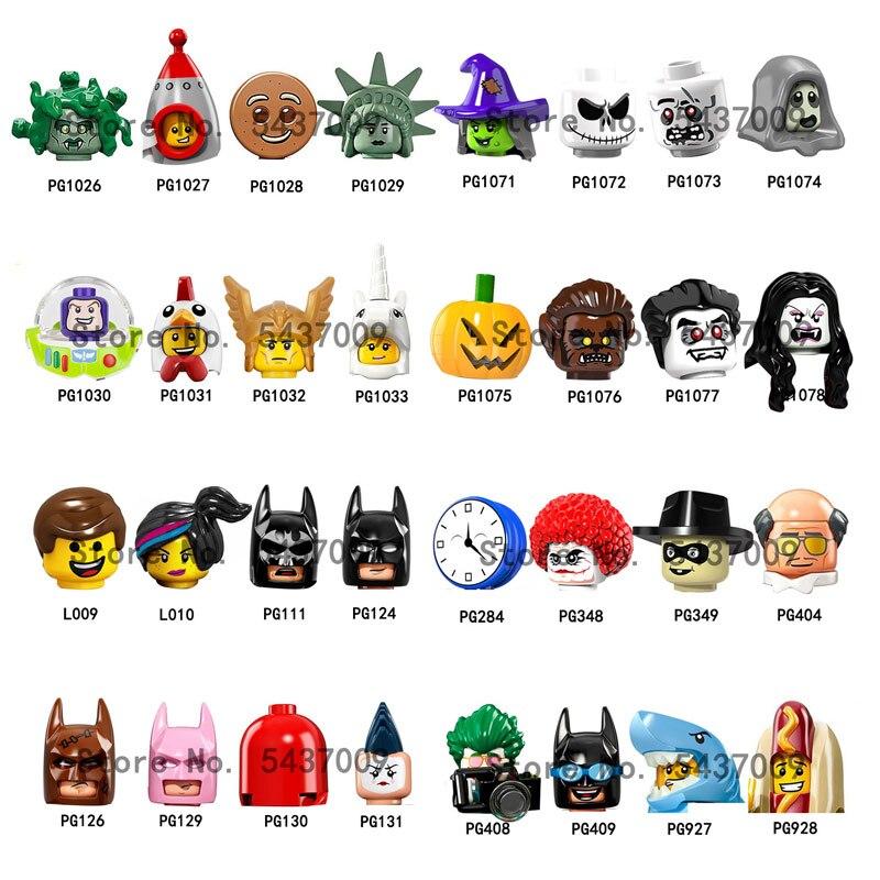 PG1026 PG1071 L009 PG111 PG129 PG408 PG409 фигурка головы MOC строительные блоки кирпичи обучающие игрушки для детей Подарки