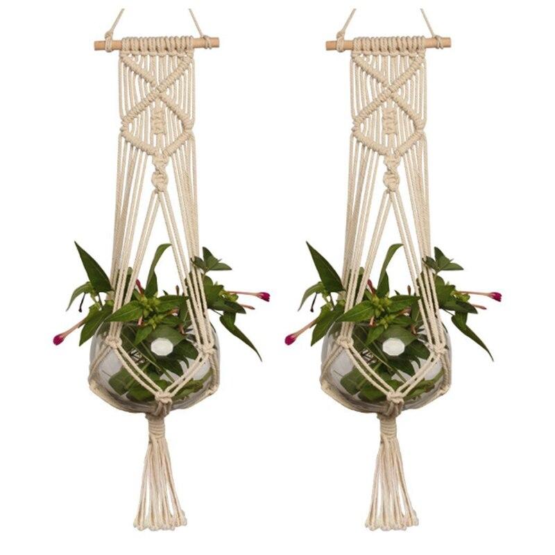 Tipote de suspensão para decoração de jardim, 1 peça, rede de bolso, vaso de flores, cabide de planta, malha manual, decoração de jardim, cânhamo