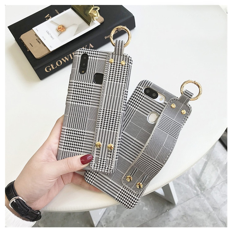 Fashion Hand Strap Plaid Phone Cases For Huawei P20 Lite P10 Plus Mate 20 9 10 Pro Nova 3 Honor 9 10 Case Kickstand Cover Fundas