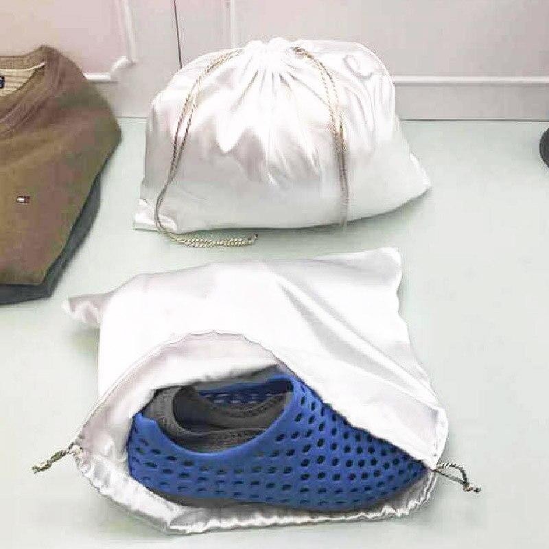 Bolsa de almacenamiento plateados embalaje con cordón bolsa para alubias bolsa Anti-polvo bolsa con cordón venta al por mayor 2020 imitación satén Slik