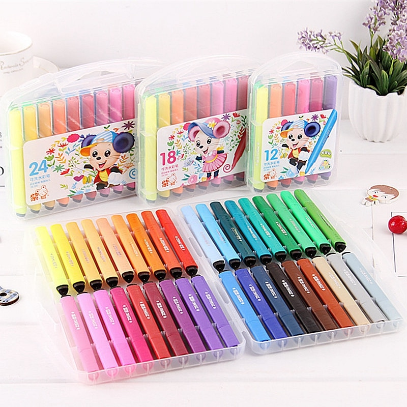 12/18/24/36 Colors Kids Washable Art Markers Watercolor Colored Pens for Drawing Art Supplies