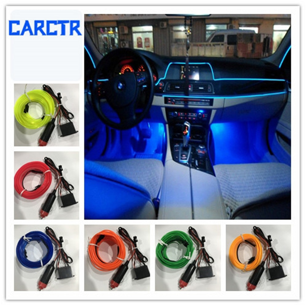 CARCTR 1m/3m Car Led Light Strips Car Atmosphere Lamp Decoration 12V Universal Instrument Panel Modified Christmas Light Lines