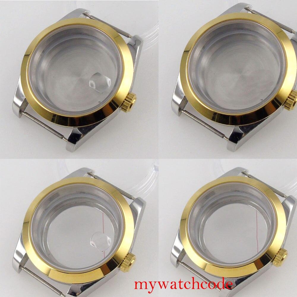 Banhado a Ouro Moldura de Cristal Case para Nh35 Assista Movimento Safira Polido Sólido ou Vidro Volta 40mm Nh36