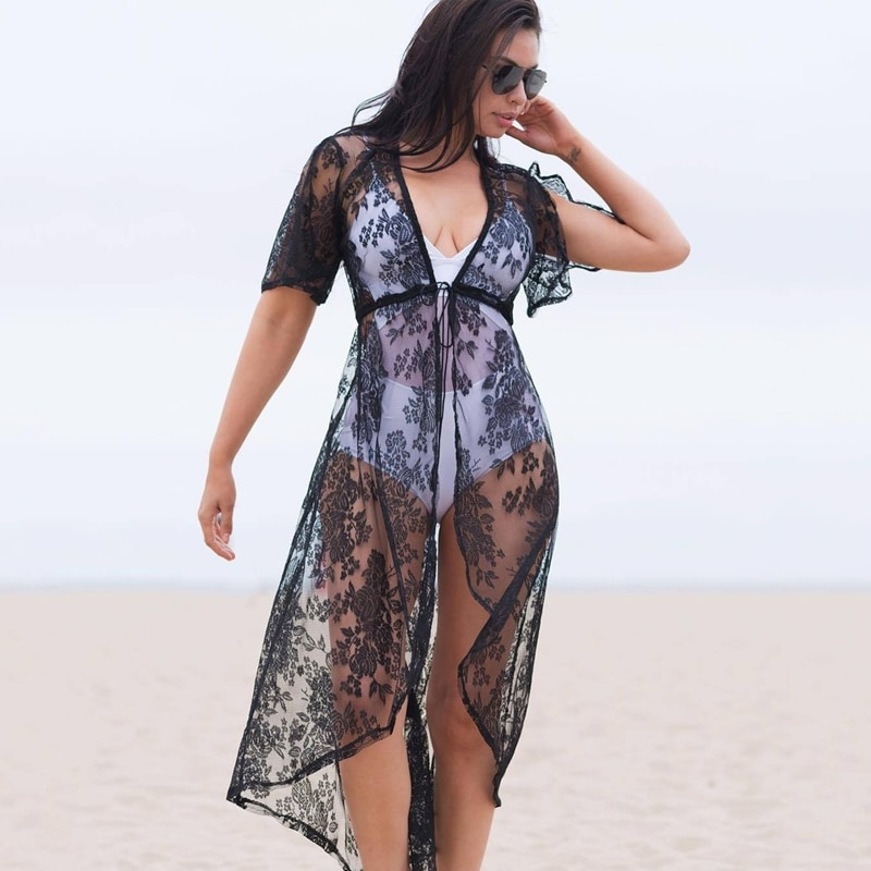 Vestido playero Sexy para mujer, vestido playero de encaje Crochet, cárdigan, Bikini, vestido largo para Playa 2021