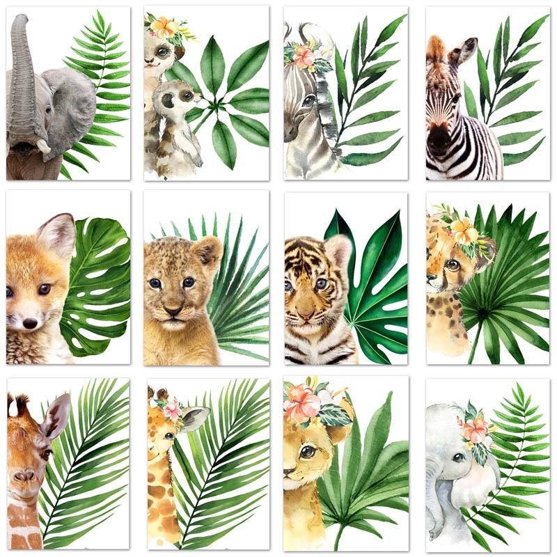 5D DIY Diamond Painting Plant Leaf Lion Zebra Giraffe Elephant Diamond Painting Animal Diamond Embroidery Kids Gift Home Decor