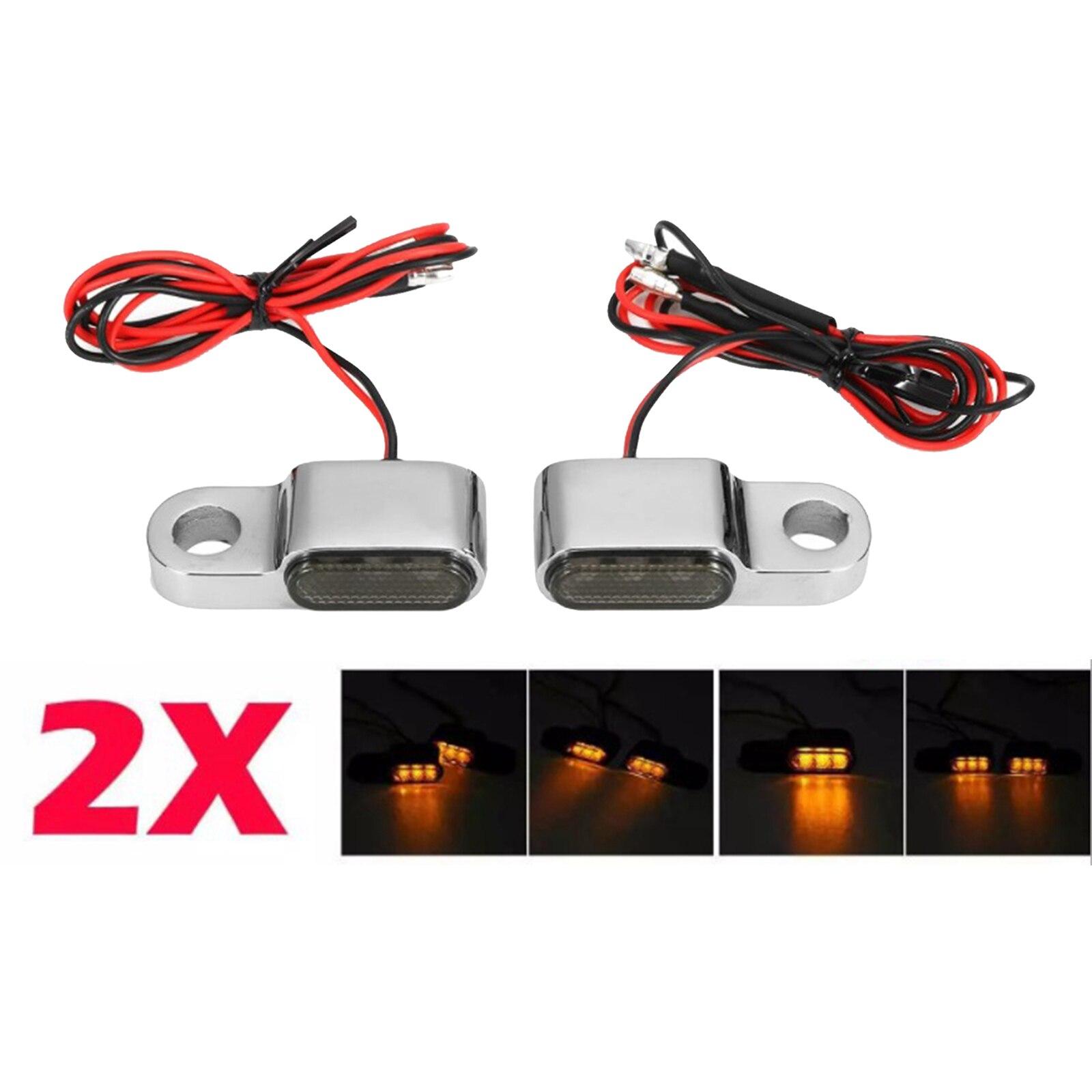 2pack Motorbike LED Turn Signal Indicator 3 LEDs Amber Lamp For Cruiser ATV