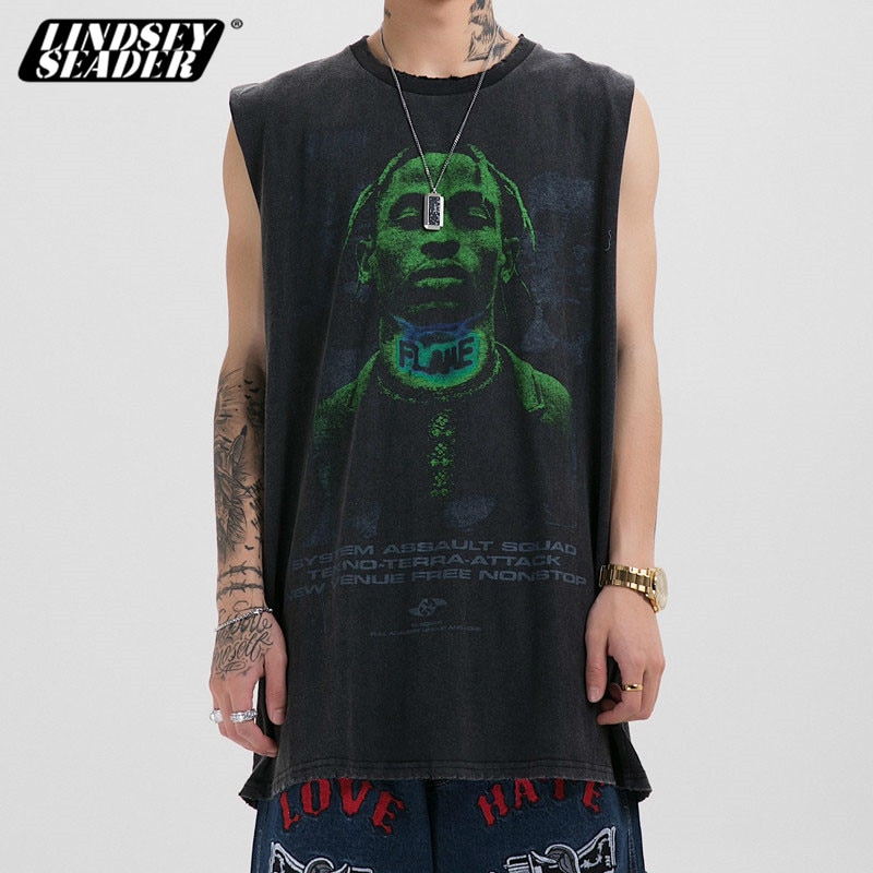 Lindsey Seader Travis Scott Hipster hip-hop Tank Tops hombres ropa Casual Harajuku camiseta sin mangas camisa Streetwear chaleco tanque Tops