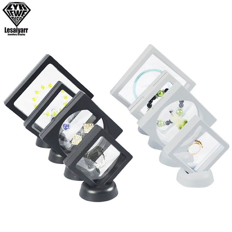 3D Floating Picture Frame Shadow Box Jewelry Display Stand Ring Pendant Holder Protect Jewellery Sto