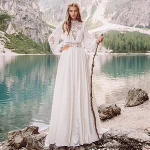 Eightale Arabic Wedding Dresses O-Neck Bohemian Wedding Gown Long Sleeves Vintage Chiffon Boho Bride Dresses 2020