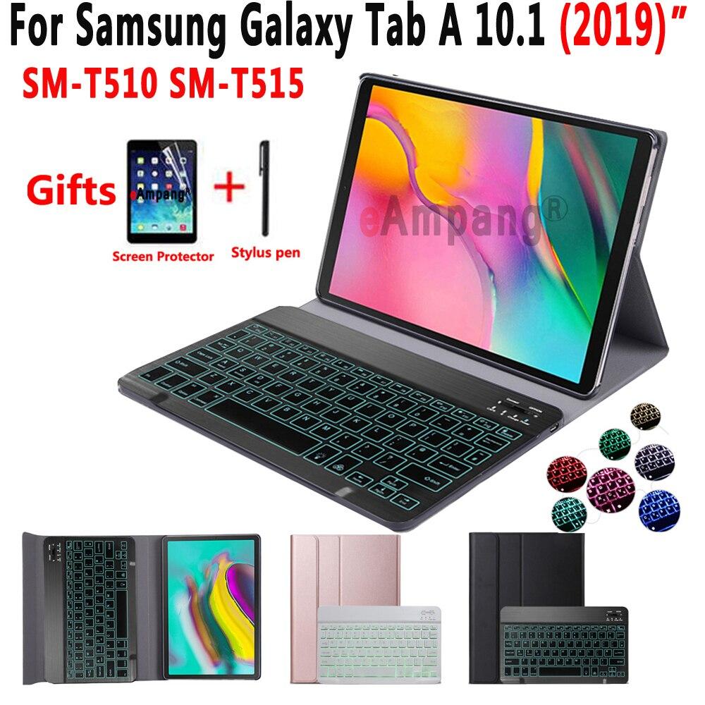 Luz Teclado retroiluminado funda para Samsung Galaxy Tab un 10,1 de 2019 T510 T515 SM-T510 SM-T515 cuero Tablet funda con teclado Bluetooth