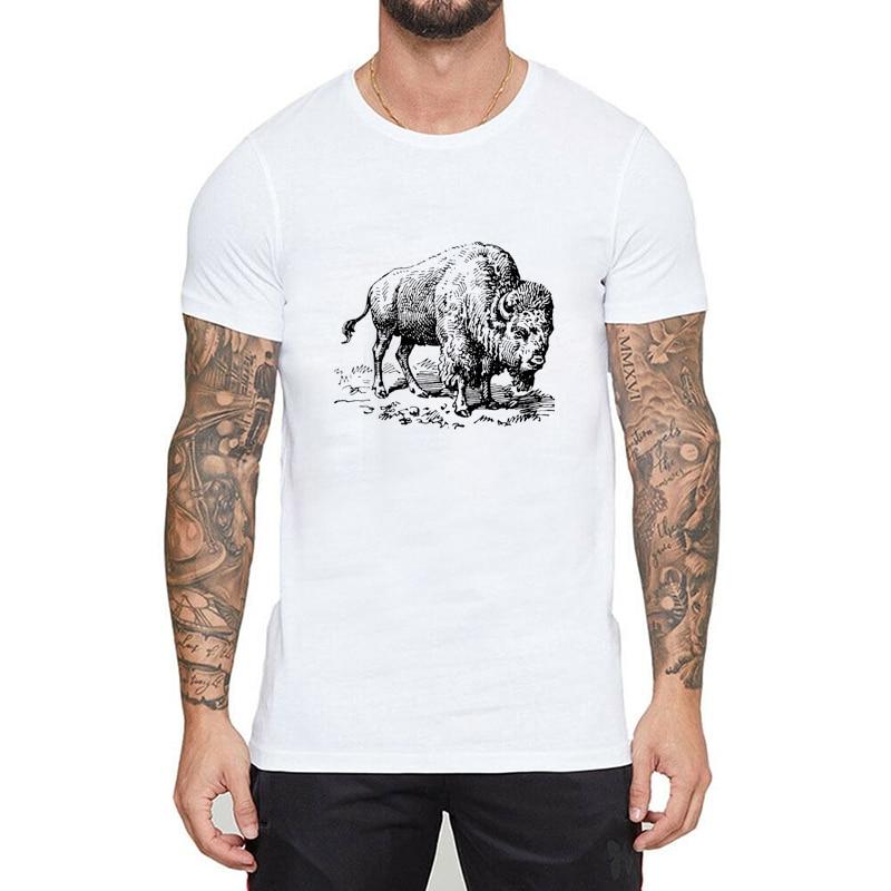 American Bison Tumblr Ulzzang camiseta mujer camiseta hombres moda camisetas Top camiseta de moda de talla grande de manga corta