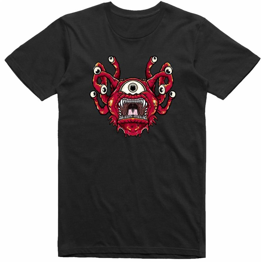 Beholder mazmorras y dragones Monster Retro MenS Regular Fit negro camiseta caliente verano Casual camiseta