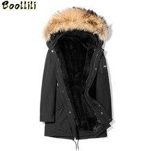 Boollili manteau de fourrure naturelle veste dhiver hommes manteaux de fourrure de lapin réel col de fourrure de raton laveur Parka hommes vêtements chaud pardessus