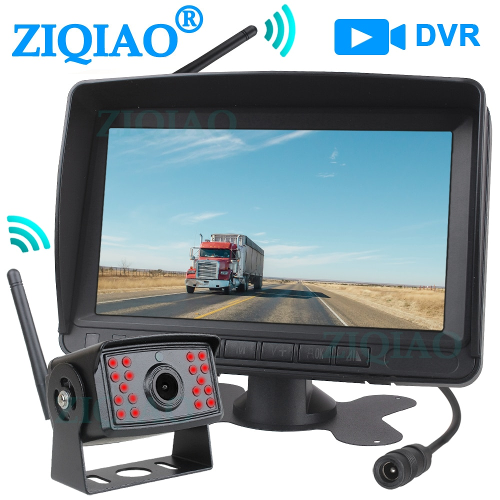 "ZIQIAO 7 ""HD Wireless Digital-Monitor Bus Lkw RV Bagger DVR Recorder Video Monitor System mit IR Nacht Vision kamera P10"