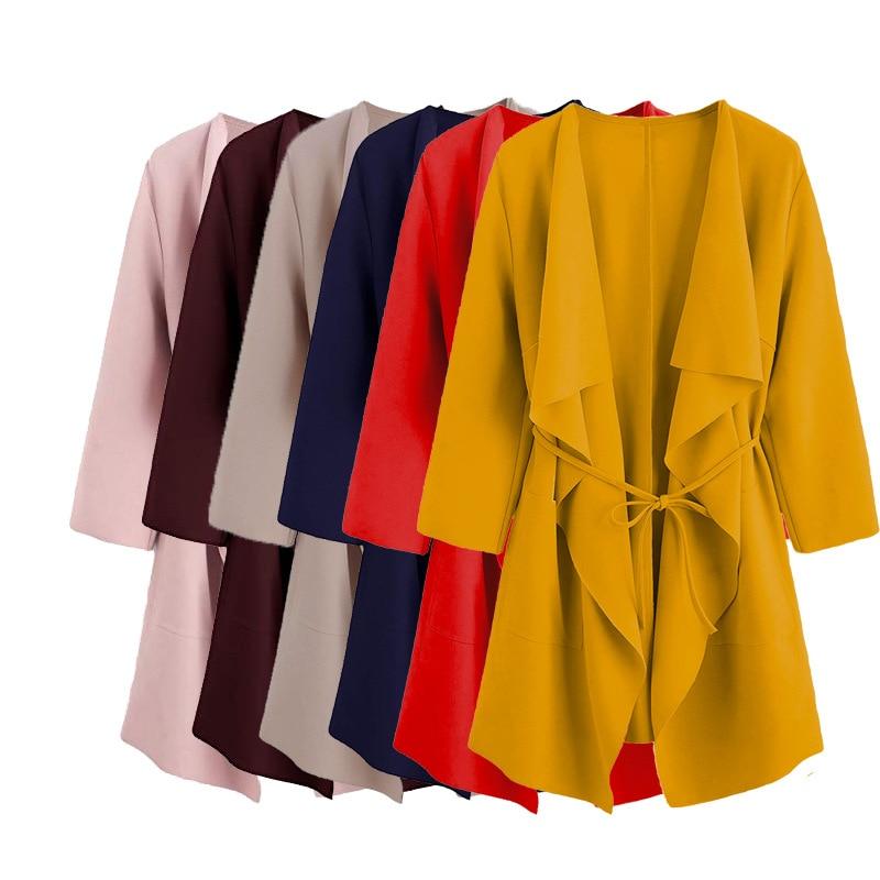 Women Long Sleeve Front Open Casual Suit Jacket Trench Coat Jacket Cardigan US