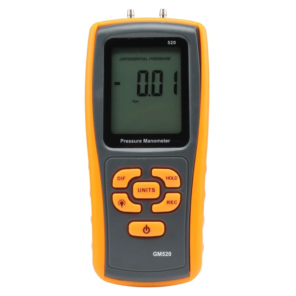 Digital Manometer Air Pressure Meter Precision ±35kPa Air Pressure Meter Differential Gauge Auto Power Off Measuring Tool Tester