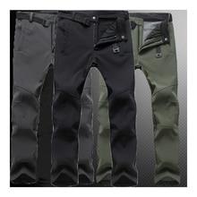 Men winter Plus Size pant waterproof softshell Outdoor Trousers Sports Hiking Camp Climb Fish Trekking ski fleece Oversized