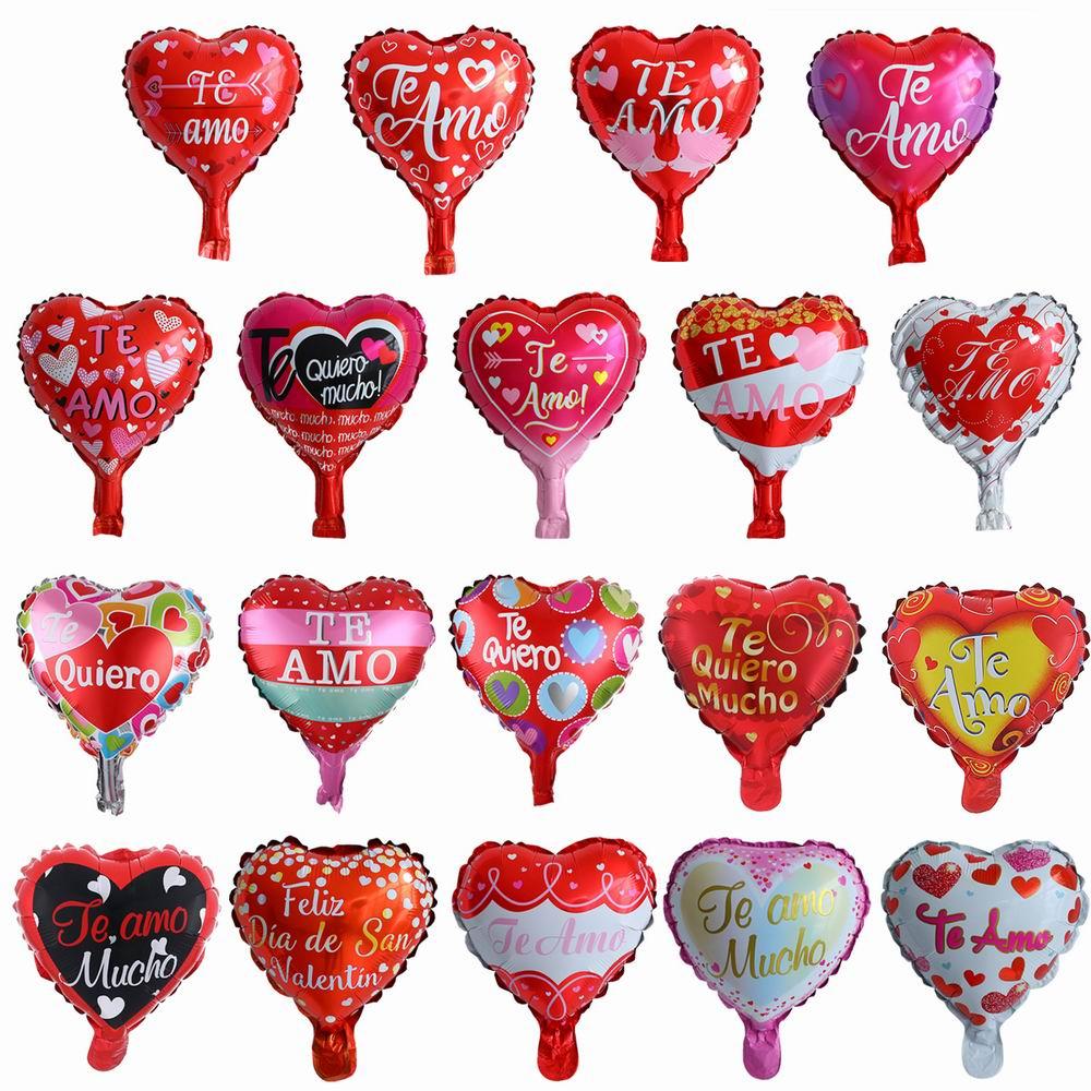 Globos de Mylar de papel de plata con 20 piezas de 10 pulgadas en Español Te Amo el corazón globo de boda decoración del Día de San Valentín globo de helio globos