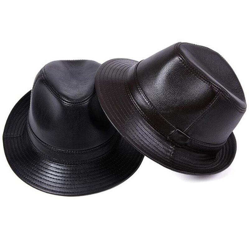 Cuero genuino de sombreros para pareja piel de vaca natural de cuero...