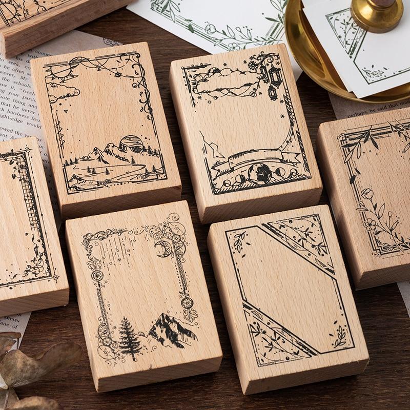 Retro borda série decoração selo de borracha de madeira selos para scrapbooking papelaria diy ofício padrão selo