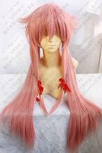 New Future Diary Mirai Nikki Gasai Yuno Cosplay Wig Heat Resistant Synthetic Hair Wigs + Wig Cap