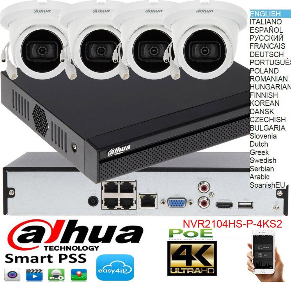الأصلي داهوا H.265 4MP POE IP كاميرا IPC-HDW2431T-AS نظام الأمن كاميرا في الهواء الطلق 4CH POE NVR2104HS-P-4KS2 مجموعة الكاميرا