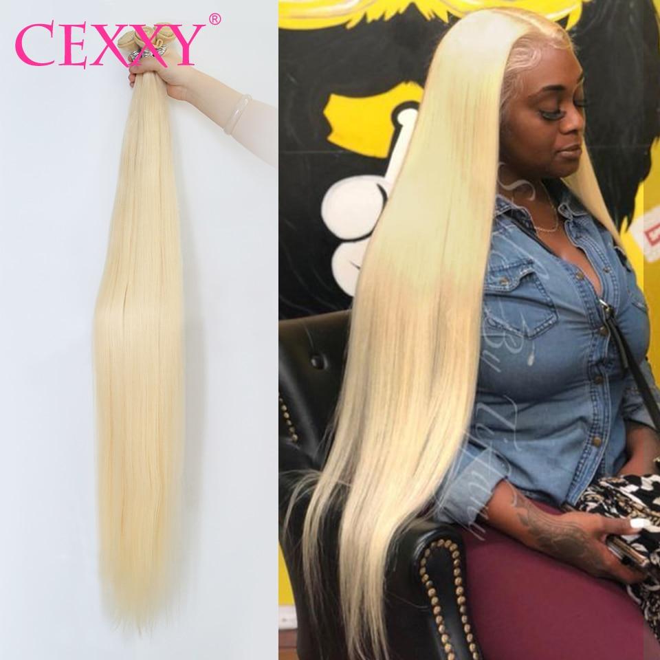 Cexxy 613 paquets cheveux vierges droites blonds faisceaux 3/4 PCS cheveux brésiliens armure faisceaux Extension de cheveux humains 30 32 40 pouces