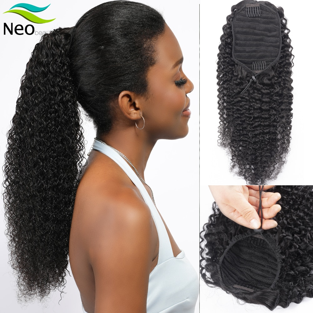 Black Human Hair Ponytail Extensions Kinky Curly Drawstring Ponytail Human Hair 8-30inches Long Hairpiece Ponytail Fast Shipping