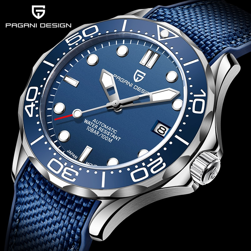 PAGANI DESIGN-ساعة يد رجالية ميكانيكية أوتوماتيكية من الفولاذ المقاوم للصدأ ، سوار ، كريستال ياقوتي ، 2020 NH35A