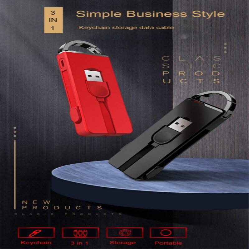 Llavero magnético 3 en 1, Cable de carga de datos tipo C Micro USB para iPhone y Android, llavero de Cable magnético de datos, llaveros de carga
