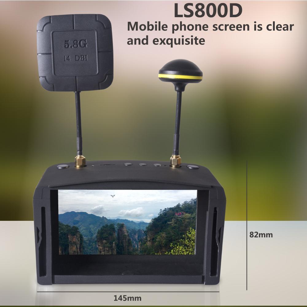 LS800D 5,8G 5 pulgadas 40CH doble receptor antena FPV gafas de Video auriculares HD gafas con DVR para Dron de carreras modelo RC