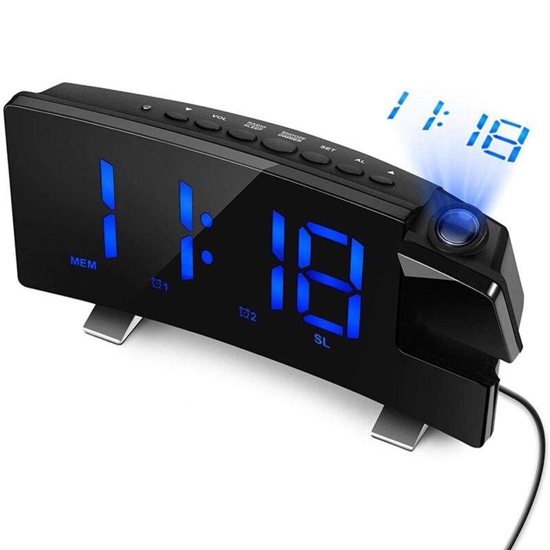 Reloj despertador de proyección, pantalla Digital grande con pantalla curvada LED de 7 pulgadas, ajusta el brillo automáticamente, 12/24 horas, alarma Dual C