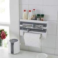 Кухонный стеллаж для хранения пленки, многофункциональный стеллаж для барбекю, бумажных полотенец, настенный стеллаж для хранения с резако...