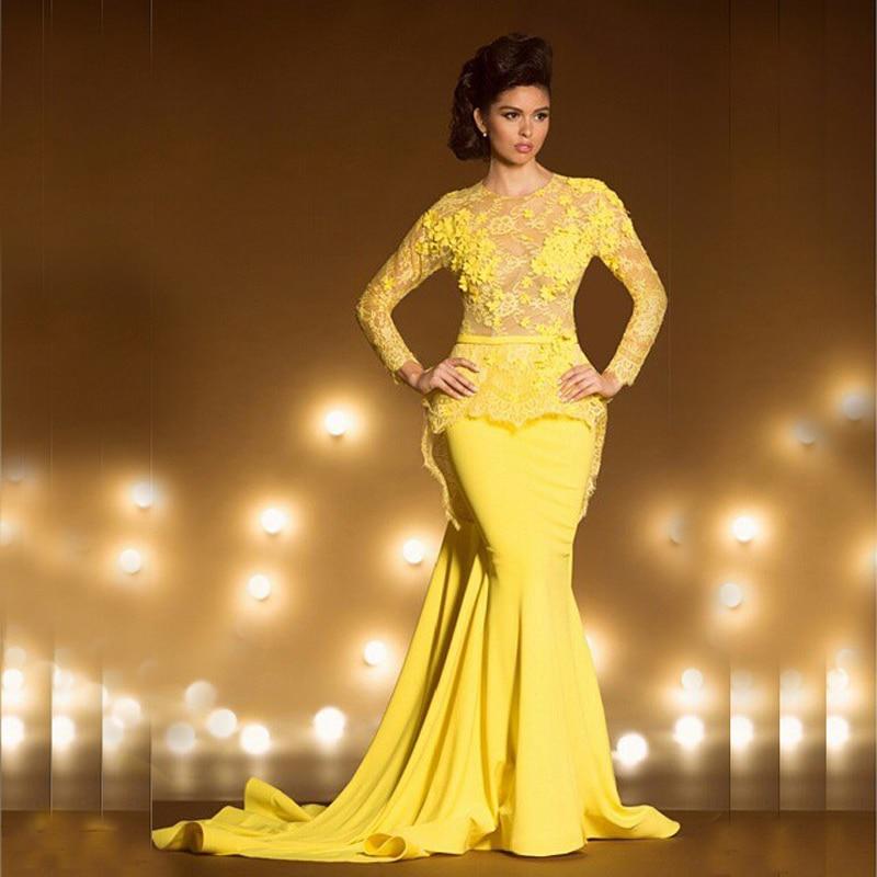 Vestido de fiesta Longo amarillo encaje sirena mujer noche manga larga Vestido de graduación ver a través de Casamento Madre de la novia vestidos