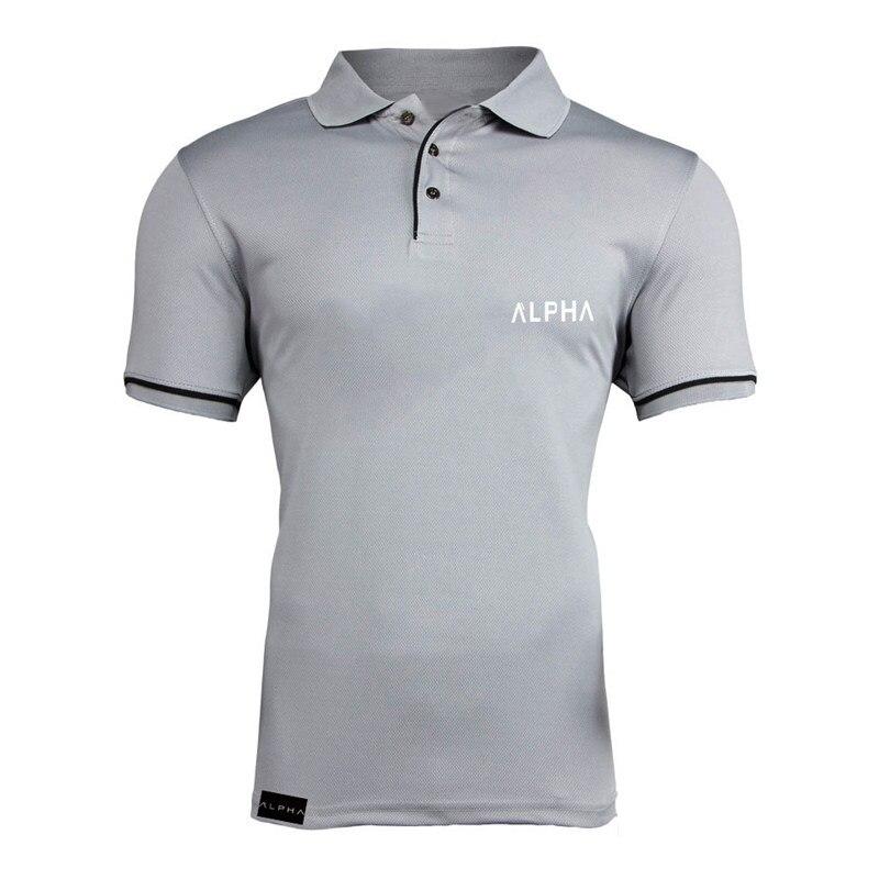De Moda hombre alfa impresión camisa de Polo de moda Casual de Color liso de manga corta de alta calidad Slim camisa de Polo de los hombres de Fitness Polo homme