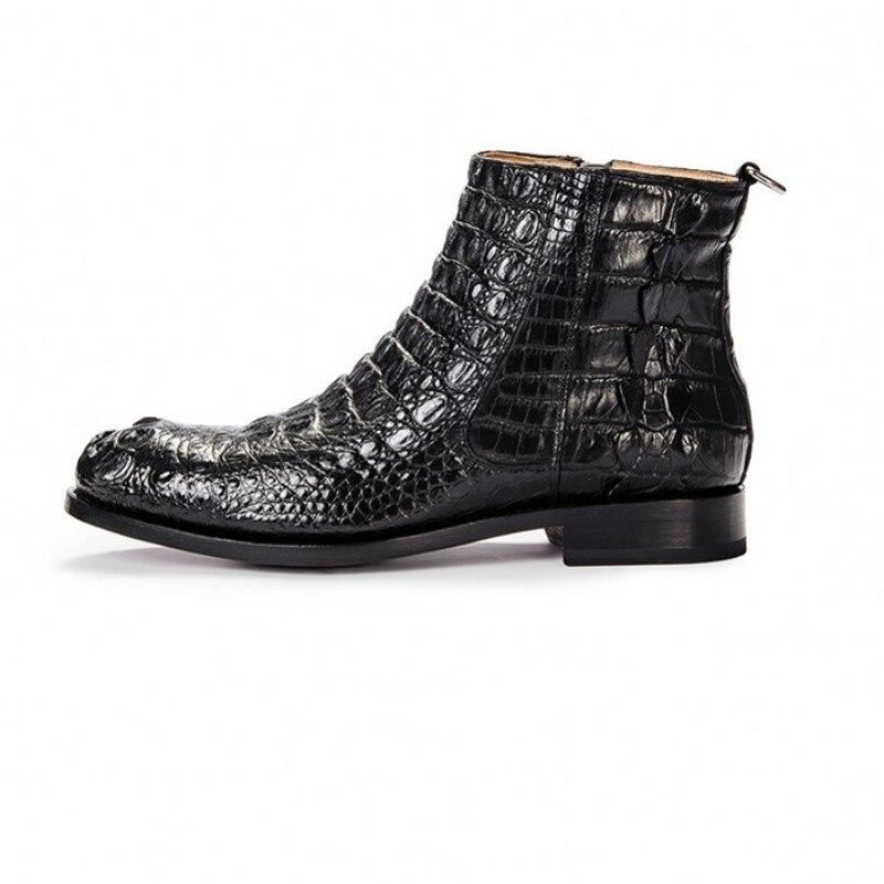 حذاء جلد التمساح الفاخر للرجال ، حذاء رسمي بريطاني عالي الجودة ، بمقدمة مستديرة وسحاب ، جلد طبيعي أسود ، حذاء مكتب 38-44