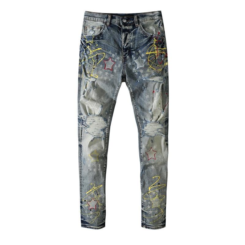 American Famous Brand AMR Graffiti Print Ripped Jeans Men's Pants Men Trousers Streetwear Men's Clothing 2021 Jeans for Man