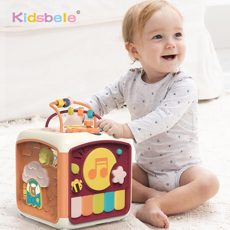 مكعب نشاط الأطفال 7 في 1 ، لعبة تعليمية للأطفال الصغار ، فارز الشكل ، لعبة موسيقية ، متاهة العد ، ألعاب اكتشاف للأطفال