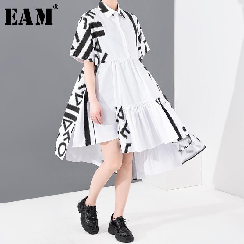 [EAM] Women Pattern Printed Back Long Big Size Shirt Dress New Lapel Short Sleeve Loose Fit Fashion Spring Summer 2020 1T43500