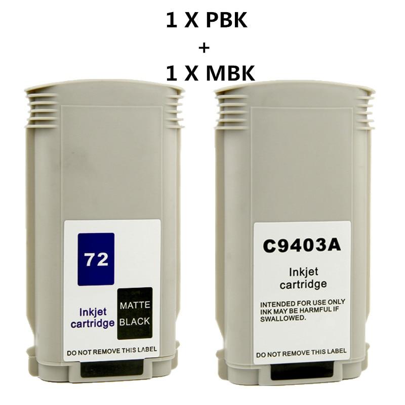 PBK MBK reemplazo para HP72 Designjet T610 T770 T790 T1100 T2300 T795 la tinta Designjet T610 T1120 T1200 T1300 T2300 impresora