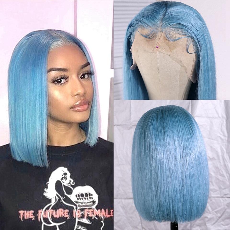 Light Blue Short Bob Wig Brazilian Lace Front Wig Preplucked Short Human Hair Bob Wigs For Black Women 180 Density