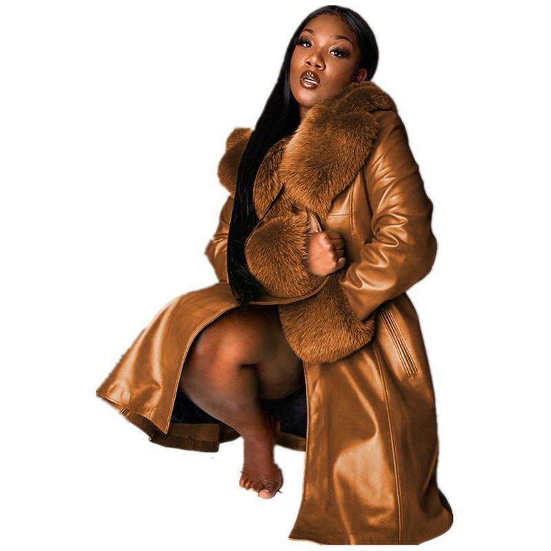 Winter Thick Warm Solid Color Lapel Long Splicing Big Fur Collar Temperament Commuter Zipper Coat PU Leather Loose Outwear enlarge